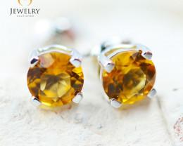 14K White Gold Citrine Earrings - 107 - E E4046 1100
