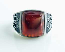 33.28 Crt Red Agate 925 Silver Rhodium Plated Ring