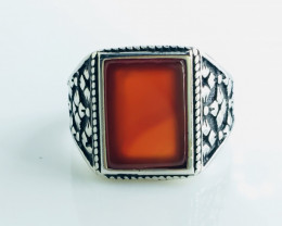 47.98 Crt Red Agate 925 Silver Rhodium Plated Ring