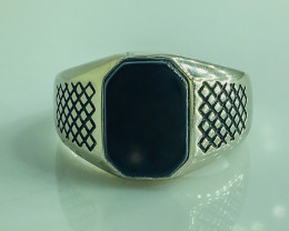 33.91 Crt Natural Black Onyx 925 Silver Rhodium Plated Ring
