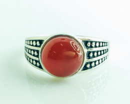24.83 Crt Natural Red Agate 925 Silver Rhodium Plated Ring