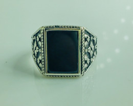 48.32 Crt Natural Black Onyx 925 Silver Rhodium Plated Ring