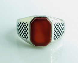 33.44 Crt Natural Red Agate 925 Silver Rhodium Plated Ring