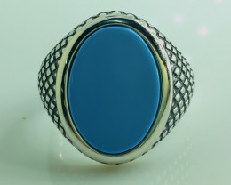 48.57 Crt Natural Howlite Turquoise 925 Silver Rhodium Plated Ring
