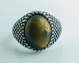 42.24 Crt Natural Tiger Eye 925 Silver Rhodium Plated Ring