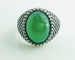 45.23 Crt Natural Green Onyx 925 Silver Rhodium Plated Ring