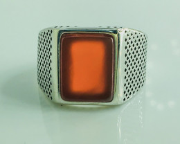 36.55 Crt Natural Red Agate 925 Silver Rhodium Plated Ring