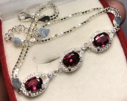 Natural Rhodolite 925 Silver Bracelet