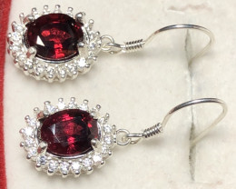Natural Rhodolite Garnet 925 Silver Earrings