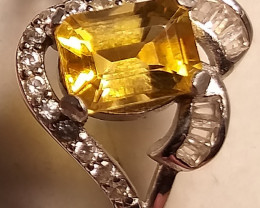 Natural Citrine 925 Silver Ring  With CZ