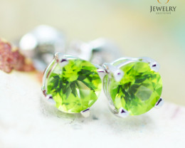 14K White Gold Peridot Earrings - 109 - E E4046 1150