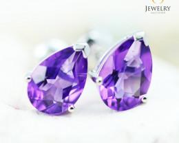 14K White Gold Amethyst Earrings - 110 - E E729 1500