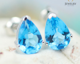 14K White Gold Blue Topaz Earrings - 111 - E E729 1600