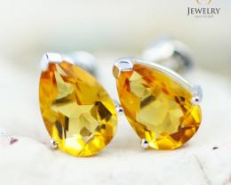 14K White Gold Citrine Earrings - 112 - E E729 1450