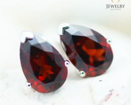 14K White Gold Garnet Earrings - 113 - E729 1550