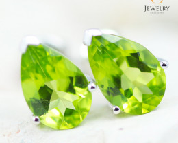 14K White Gold Peridot Earrings - 114 - E E729 1750