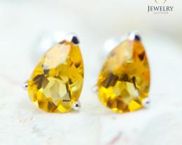 14K White Gold Citrine Earrings - 117 - E E12245 1550