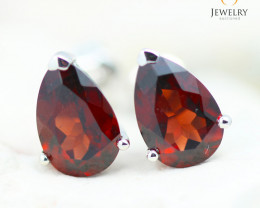 14K White Gold Garnet Earrings - 118 - E E12245 1650