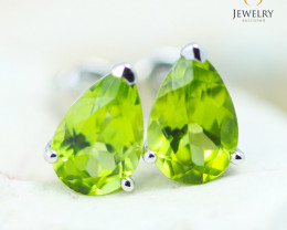 14K White Gold Peridot Earrings - 119 - E E12245 1850