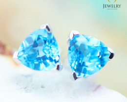 14K White Gold Blue Topaz Earrings - 121 - E E3489 1300 TOPAZ
