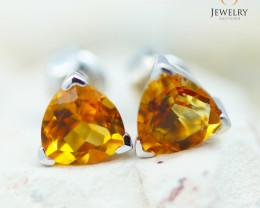14K White Gold Citrine Earrings - 122 - E E3489 1250