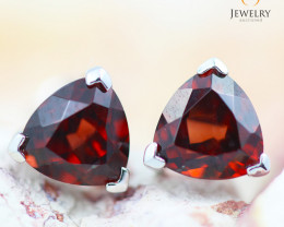 14K White Gold Garnet Earrings - 123 - E E3489 1300 GARNET