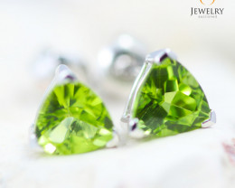 14K White Gold Peridot Earrings - 124 - E E3489 1300