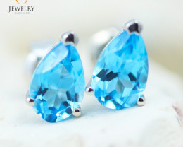 14K White Gold Blue Topaz Earrings - 126 - E E11774 1300