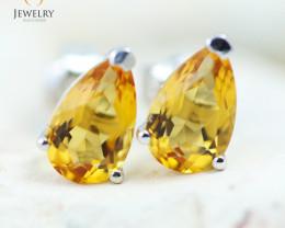 14K White Gold Citrine Earrings - 127 - E E11774 1200
