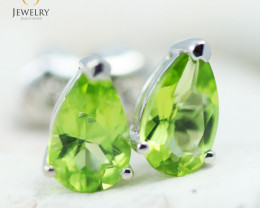 14K White Gold Peridot Earrings - 129 - E E11774 1400