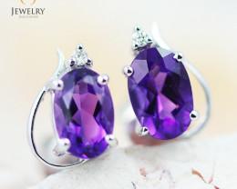 14 KW White Gold Amethyst & Diamond Earrings - 130 - E E9753 1300