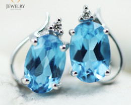 14 KW White Gold Blue Topaz & Diamond Earrings - 131 - E E9753 1350
