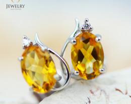 14 KW White Gold Citrine & Diamond Earrings - 132 - E E9753 1300