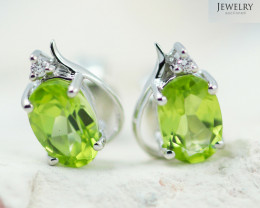 14 KW White Gold Peridot & Diamond Earrings - 134 - E E9753 1300 PERIDOT