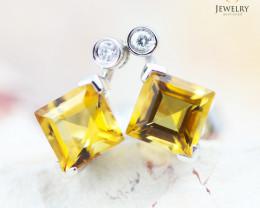 14 KW White Gold Citrine & Diamond Earrings - 137 - E E4557 1550