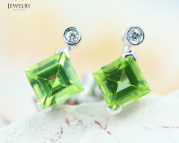 14 KW White Gold Peridot & Diamond Earrings - 139 - E E4557 1550 PERIDOT