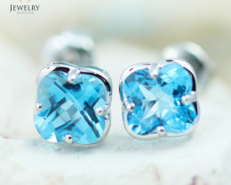14 KW White Gold Blue Topaz Earrings - 141 - E E3991 1400