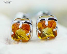 14 KW White Gold Citrine Earrings - 142 - E E3991 1300