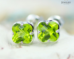 14 KW White Gold Peridot Earrings - 144 - E E3991 1400