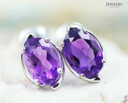 14 KW White Gold Amethyst Earrings - 145 - E E11391 1250