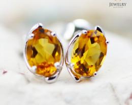 14 KW White Gold Citrine Earrings - 147 - E E11391 1250 CIT