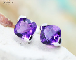 14 KW White Gold Amethyst Earrings - 150 - E E3886 1550 AM