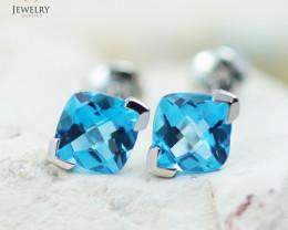 14 KW White Gold Blue Topaz Earrings - 151 - E E3886 1600