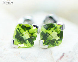 14 KW White Gold Peridot Earrings - 154 - E E3886 1550 PER