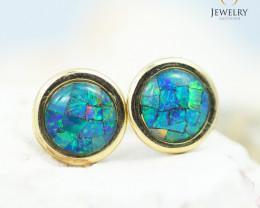 14 KW Yellow Gold Mosaic Opal Earrings - 155 A - E E241 1900