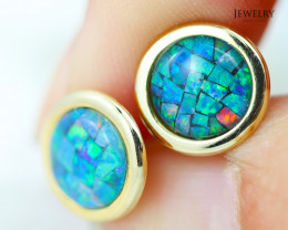 14 KW Yellow Gold Mosaic Opal Earrings - 155 B - E E241 1900