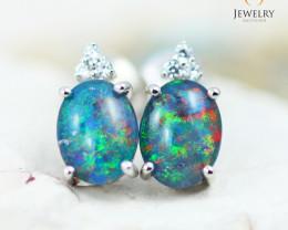 Opal Triplet & Diamond set in Silver Earrings - 2C - E E12264 600