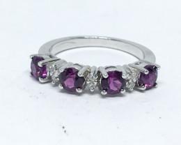 13.94 Crt Natural Rhodolite Garnet 925 Silver Ring