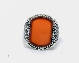 45.68 Crt Natural Red Agate 925 Silver Ring
