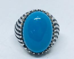 42.45 Crt Howlite Turquoise 925 Silver Ring